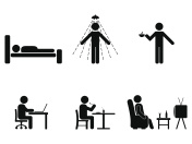 Man people every day action. Posture stick figure. Sleeping, eating, working, icon symbol sign pictogram