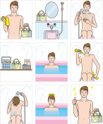 Japanese style public bath. How to use the bath.