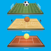 vector illustration background tennis field 3D tennis ball