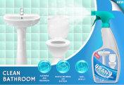 Bathroom cleaner ad vector 3d illustration