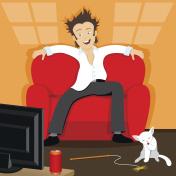 Man watches TV.