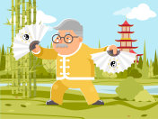 Grandfather fan chinese wushu taichi kungfu fitness china healthy activities adult old age man asian character cartoon nature background flat design vector illustration