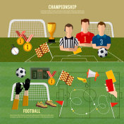 Soccer World Cup banner, football sport team signs and symbols elements of professional soccer