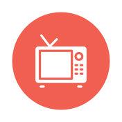 TV glyphs flat circle icon