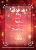 Valentine's Day menu design