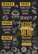 Vegan menu restaurant, food template.