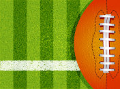 American football field and ball