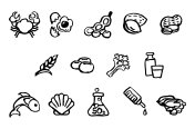 Food Safety Icons Watercolor Ink Brush Style