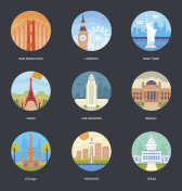 World Cities and Tourism Illustration Set 1