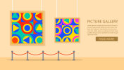 Art museum of modern painting.Interior of an abstract exhibition.Picture art gallery.The picture hangs on a wall in a frame.
