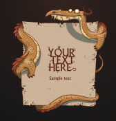 Fantasy banner orange dragon