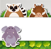 Banner template with cute animals