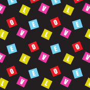 love text in square shape scattered pattern background