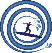 Surfing man with swirly wave icon