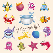 Marine life. Cartoon fun sea and ocean animals set. Vector illustration, isolated on white background