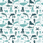 Underwater seamless pattern with silhouettes fishes, octopus, crab, jellyfish, walrus, dolphin, seahorse, turtle and whale. Sea life