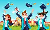 Students Throw Graduation Hats in Air.