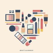 Makeup elements heart shape