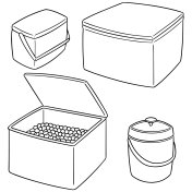 ice box and ice bucket