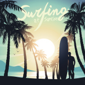 Surfing at Sunrise with a longboard surfer