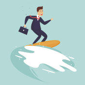 Success, businessman surfing on the wave. Flat design vector illustration.