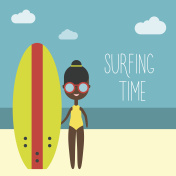 Surfing girl Vector illustration