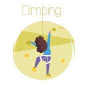 Climbing. Vector. Cartoon