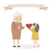 Granddaughter gives heart to grandmother. Happy grandparents day greeting background.