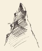 Sketch people climbing mountain peak vector.