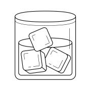 Glass of water with ice cubes vector line icon