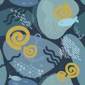 Seamless marine underwater pattern with pebbles, anchor, fish, shell, octopus.