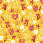 Seamless pattern with polyp, shell, seaweed and starfish