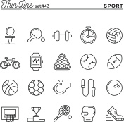 Sports, recreation, work out, equipment and more, thin line icons