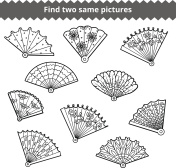 Find two identical pictures, education game for children, set of fans