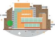 University, city, flat, building, vector