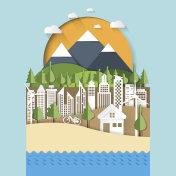 Eco and cityscape concept paper cut design