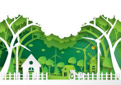 Green eco friendly of environment concept paper art style