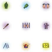 Robbery icons set, pop-art style