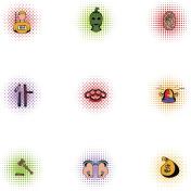 Offense icons set, pop-art style