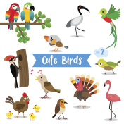 Bird Animal cartoon on white background vector illustration. Set 2