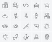 Police sketch icon set