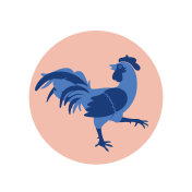 Blue Rooster in Flat Style