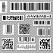 QR codes, bar and packaging labels isolated on transparent background