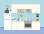 Kitchen interior with furniture.Shelves with spices and fruits. Microwave oven, fridge, coffee machine and other equipment, cookware and accessories for cooking. Cartoon flat style vector illustration