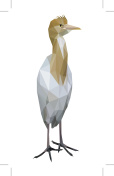 White bird low polygon standing (Cattle Egret)