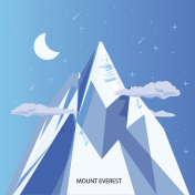 mount everest with clear night sky and star. highest mountain