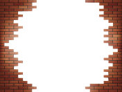 White hole in red brick wall.