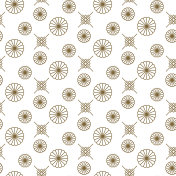 Japanese floral vector seamless pattern in gold line color style