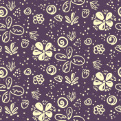 Doodle floral pattern with white flowers on purple