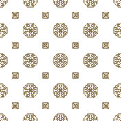 Japan kimono inspired vector seamless pattern in gold line color style